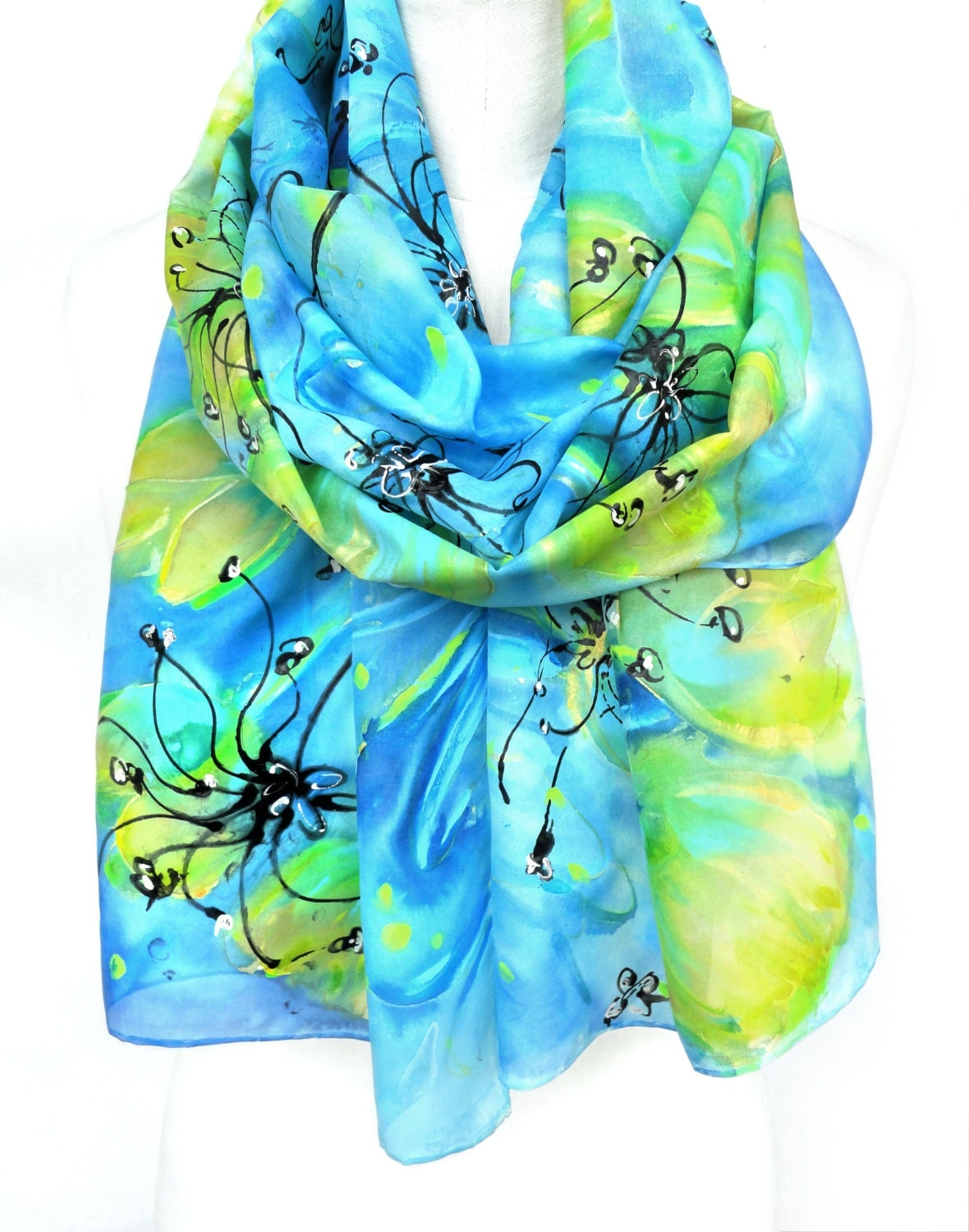 tulips scarf painted silk scarf floral shawl genuine