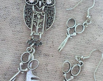 Filigree Dangle Owl with Hair Stylist Scissor and Comb Charm Necklace and Earrings