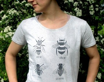 Organic Women's Bee Tee! hand screen printed with eco-friendly inks. Featuring 6 varieties of Bee.
