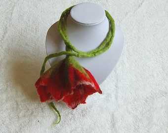 Necklace scarf with flower, felt scarf, red wool flower cord, floral jewelry, red poppy, flower necklace, woman's scarf, floral scarf