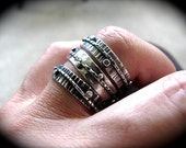 Silver Boho Stack Ring Rustically Textured