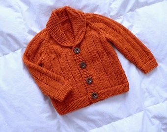 Green or orange, wool hand knitted baby cardigan, baby shower gift, MADE to ORDER, size 4 months