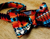 Black Rainbow Beaded Aztec  Cotton Self Tie Bow Tie