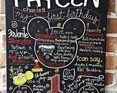 Birthday sign chalkboard style Boy or Girl Any Theme Mickey Mouse style  First Birthday Sign