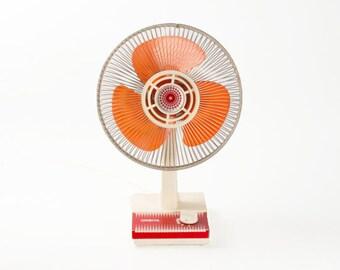 Vintage Red Orange White ElectricTable Fan Ventilator / Orbita 70s Yugoslavia Retro / Home Decor / Office / Oscillant Fan / Working