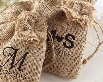 Personalized Favor Bags (Set of 48), rustic wedding favors, candy favor bags, burlap favor bags