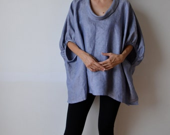 Chambray linen smock top blouse. Plus size and maternity linen blouse. Linen tunic.