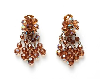 REDUCED were 65 now 40 lovely VINTAGE 50's beaded amber crystal dangle chandelier earrings