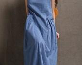 Blue linen dress women dress maxi dress C426