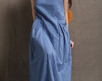 Maxi Linen Dress - Blue Long Casual Comfortable Sleeveless Women's Summer Dress with 2 Large Pockets C426