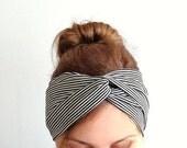 stripe twist headband black white turban retro vintage wide headband hair wrap stretch jersey headwrap head wrap