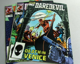 Set of 3 Vintage Daredevil Comic Books, No. 221, No. 222, and No. 223, August, September, and October 1985, Marvel Comics