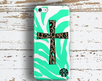 Christian phone case, Cross Religious mint green and brown, Fits iPhone 4/4s 5/5s 6/6s 7 8 5c SE X and Plus (9980)