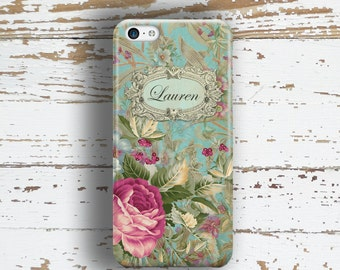 Summer fashion accessories, Pretty phone case, Women's Floral Monogram Fits iPhone 4/4s 5/5s 6/6s 7 8 5c SE X and Plus, Roses blue  (9806)