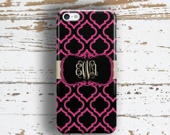 Personalized gift for mom, Quatrefoil Iphone 6 Plus case, Monogram Iphone 5c case, Clover iPhone 5s case, Custom iPhone 4 case pink (1415)
