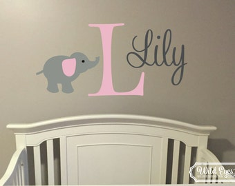 Monogram Personalized Name and Initial Cute Elephant Vinyl Decal Jungle Nursery