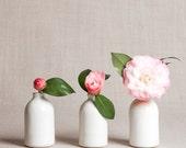 White Minimalist Bud Vases // Set of Three