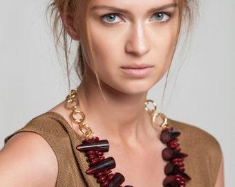 Burgundy Horns Necklace