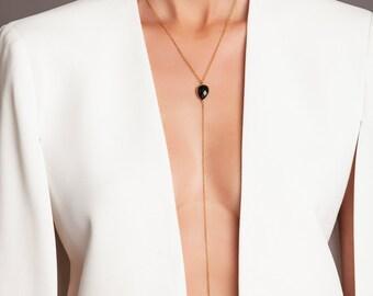 Lariat Necklace - Onyx