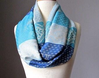 Blue scarf - Aqua scarf - Nordic infinity scarf -  Deer  scarf - pashmina scarf