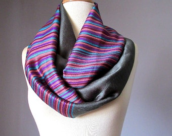 Infinity scarf, Pashmina scarf,  Grey scarf,  multicolored stripe scarf, handmade scarf
