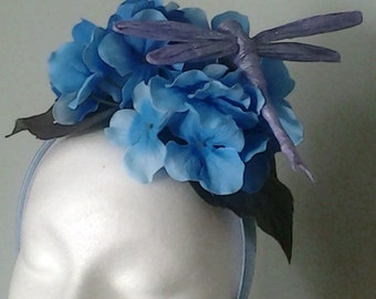 Woman Girl's Headband Fascinator with Hydrangea Blossom and Lavender Dragonfly