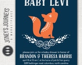 Baby Shower Invitation, Woodland, Fox, Floral, Laurel Wreath, Simple, Navy, Orange, Mint, Boy, Girl, Custom, Printable, Invite, Digital