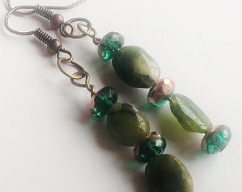 Natural Emerald w/ Green & Copper Colored Glass Beaded Earrings w/ Copper Coated Nickel Earring Hooks