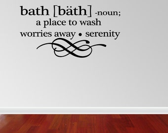 Bath Definition Words Bathroom Vinyl Decor Decal Wall Lettering Sticker Quote (J656)