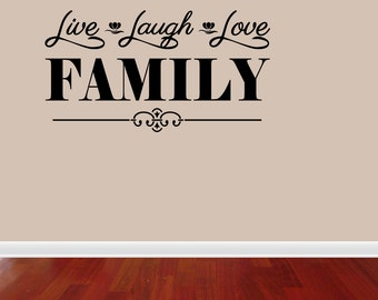 Live Laugh Love Family Vinyl Wall Quote Word Decal Home Decor (J697)