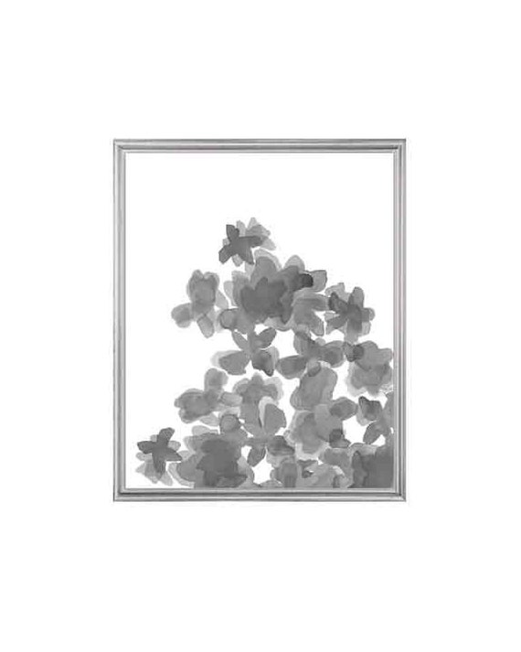 Black and White Watercolor Flower Print, 8x10