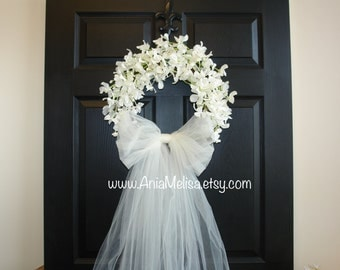 spring wreath summer wreath wedding front door wreaths outdoor bridal shower decorations white ivory wreaths country french weddings decor