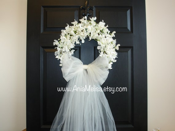 Wreath wedding wreaths front door wreaths outdoor bridal for Wedding door decorating ideas