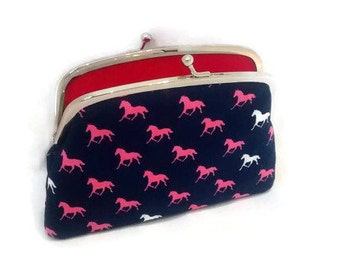 Unique coin purse, equestrian kiss lock frame wallet navy with pink and white horses, 2 compartments