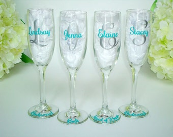 4 Bridesmaid Glasses - Monogrammed Toasting Flutes - Personalized Champagne Glasses - Bridesmaid Champagne Flute - Wedding Party Favors