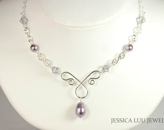 Purple Pearl and Crystal Necklace Wire Wrapped Jewelry Handmade Sterling Silver Jewelry Handmade Swarovski Crystal Necklace Lavender