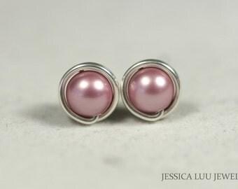 Pink Pearl Stud Earrings Wire Wrapped Jewelry Handmade Sterling Silver Jewelry Handmade Swarovski Pearl Stud Earrings Bridal Earrings