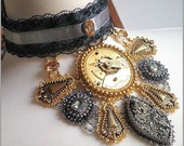Over the aether - Steampunk choker necklace with vintage watch movement and pyrite, bead embroidered