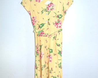 Floral Print Dress Shirt Dress Yellow Dress Cutout Dress Spring Dress Yellow Shirt Dress Boho Shirt Dress 80s Shirt Dress Size 12