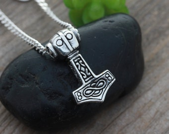 Sterling silver Thors Hammer necklace, Thors hammer pendant with Celtic knot design And Infinity Eternity love sign. Choose chain, R5353
