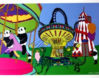 Dinosaur and panda fun fair print art A4 Jurassic Panda Jurassic World