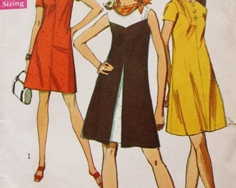 1960s One Piece Dress Sewing Pattern /Inverted Front Pleat /Simplicity 8638 /Bust 32