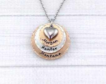 Mixed Metal Copper Bronze Pewter Triple Stack Hand Stamped, personalized keepsake necklace