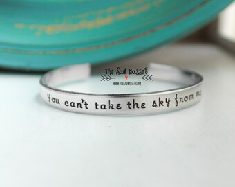 You Can't Take The Sky From Me Hand Stamped Cuff   Firefly Jewelry   Inspirational   Serenity Jewelry   Graduation Gift   Fandom Jewelry