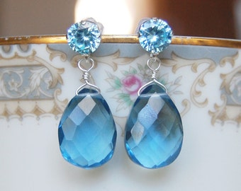 Iolite Quartz Earrings , Blue Silver Earrings , Sterling Post Dangle Earrings