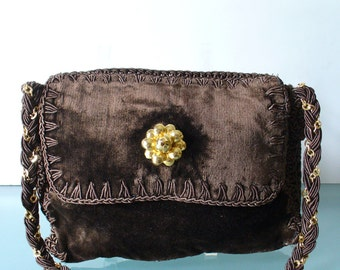 Made in Italy Velvet and Crochet Shoulder Bag