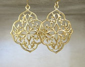 Matte Gold Filigree Earrings - Flower Filigree - Dangle Earrings - Moroccan Filigree Earrings - Boho Chic Earrings
