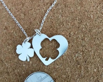Clover Jewelry, Lucky Shamrock in Sterling Silver, Mother Daughter Pendant, Heart Mother Daughter Jewelry