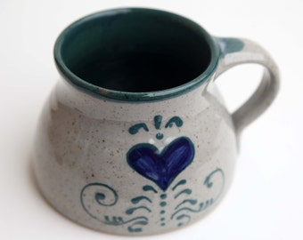 Hand Made Travel Mug Pottery Mug hand Painted Blue Heart in Forest Green and Speckled Stone Artist Signed Wide Base