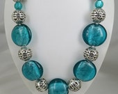 SALE Chunky silver foil statement necklace, Striking sea green